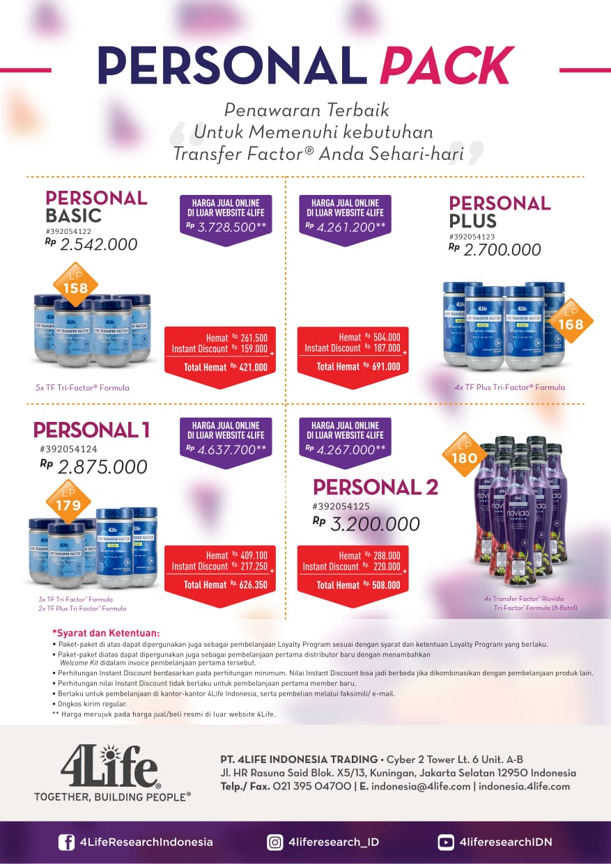 paket promo personal 4life transfer factor